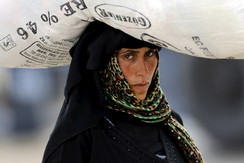 A Syrian refugee woman carries her belongings as she crosses into Turkey at Akcakale border gate in Sanliurfa province, Turkey, June 15, 2015