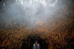 A miner emerges from an illegal coal mine near the Bosnian town