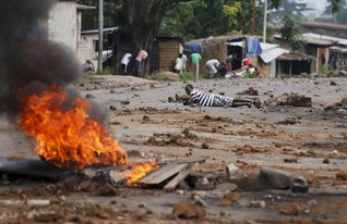 Two killed in running street battles in Burundi's capital