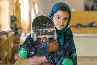 Joyous Kabul girl skateboarders defy war, light up London exhibition