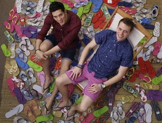 INTERVIEW-British tsunami brothers use funky footwear to help children