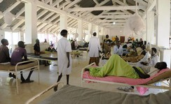 A general view shows South Sudanese patients inside the surgery ward at the Bor teaching hospital after renewed conflict in Bor, Jonglei state