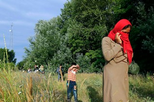 Migrants from Afghanistan walk after they crossed the border from Serbia to Hungary, near the village of Asotthalom