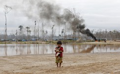 A boy carries a dog as he stands after a Peruvian police operation to destroy illegal gold mining camps in a zone known as Mega 14, in the southern Amazon region of Madre de Dios J