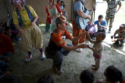 Medical clowns perform in front of children affected by the earthquake in Kathmandu