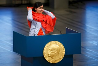 Nobel Peace Prize laureate Yousafzai delivers a speech during the Nobel Peace Prize awards ceremony at the City Hall in Oslo