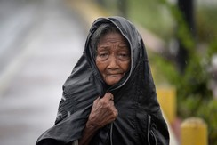 An elderly woman shields herself from the rain brought by Typhoon Hagupit in Noveleta town, Cavite province, south of Manila