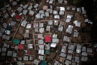 An aerial view taken from the Indian Air Force's helicopter shows the destroyed houses by flood in Srinagar